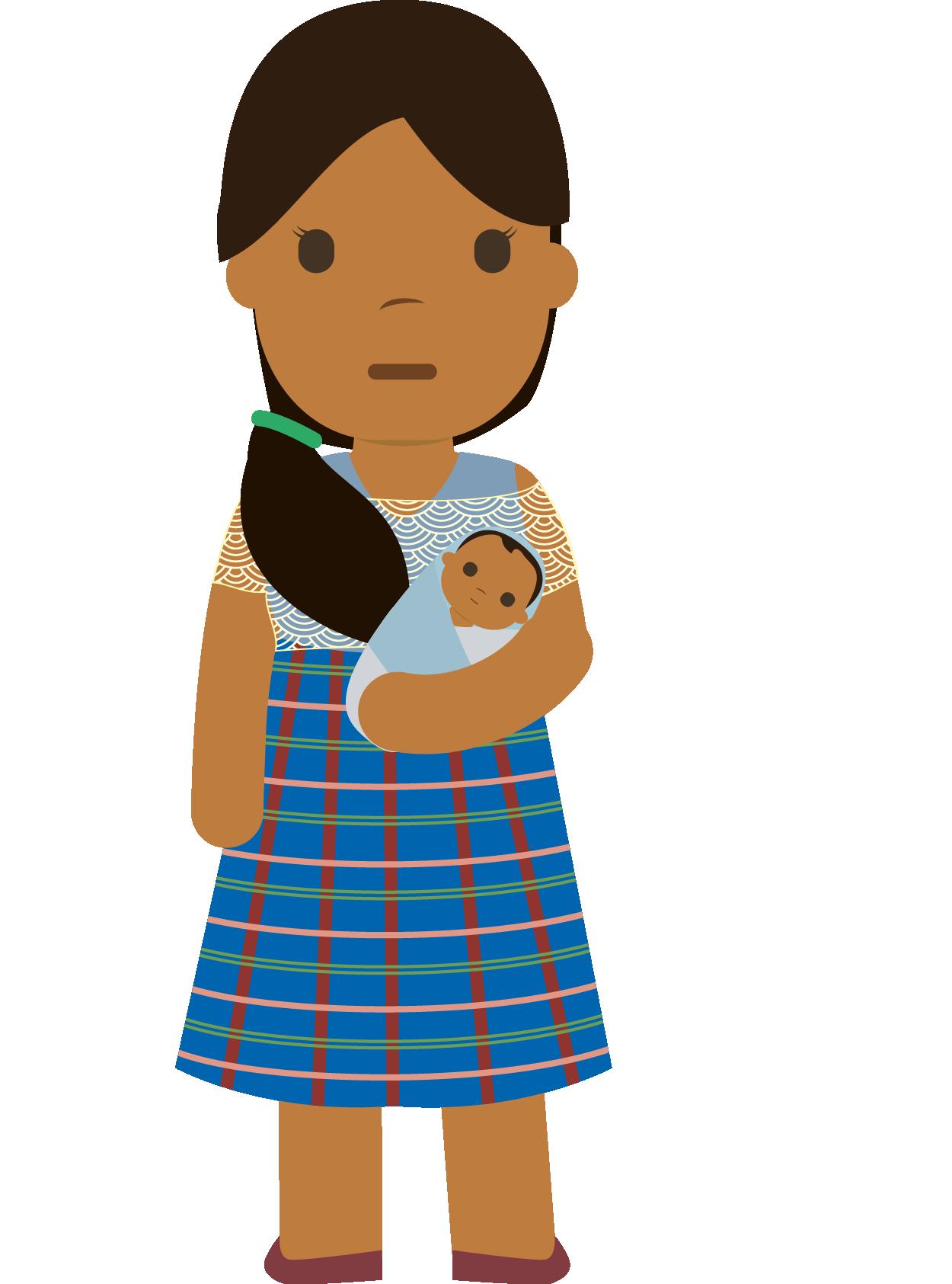 Martina con su bebé