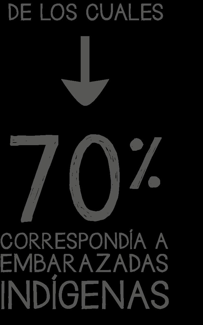 De los cuales el 70% correspondía a embarazadas indígenas